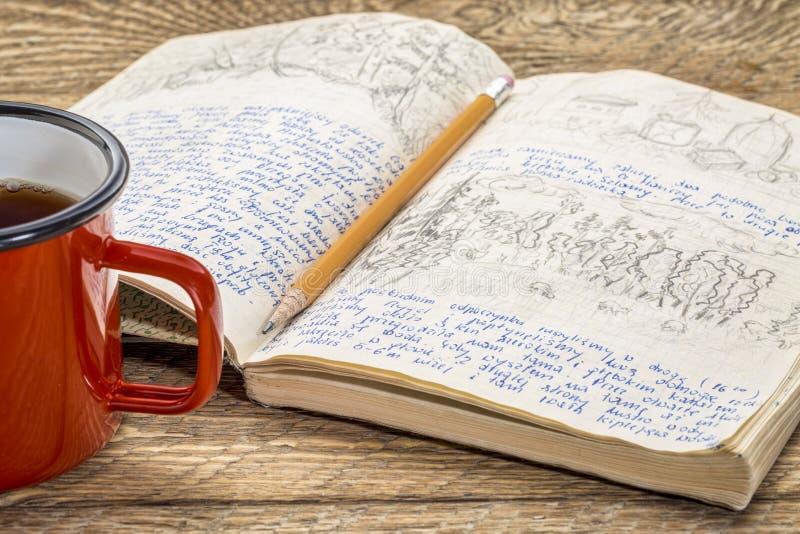 Het dagboek van de reisexpeditie royalty-vrije stock afbeelding