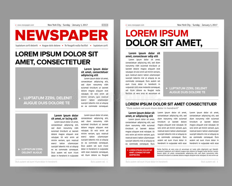 Het dagelijkse het ontwerpmalplaatje van het krantendagboek met twee-pagina die editable krantekoppen openen citeert tekstartikel stock illustratie