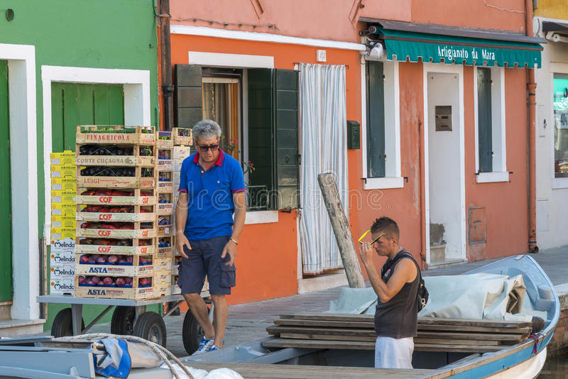 Het dagelijkse leven in Burano, Italië royalty-vrije stock fotografie