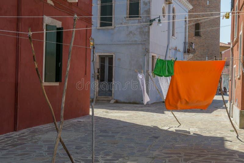 Het dagelijkse leven in Burano stock foto's