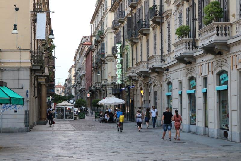 Het dagelijkse Leven in Turijn, Turijn Italië Spruit in Juli 2018 stock foto's