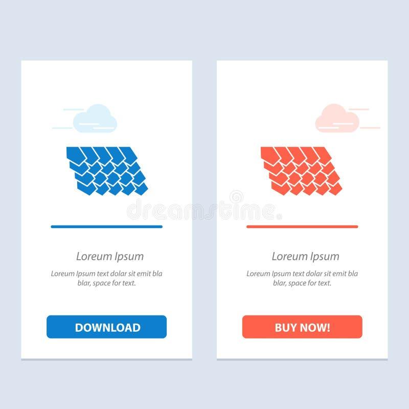 Het dak, de Tegel, de Bovenkant, de Bouw Blauwe en Rode Download en kopen nu de Kaartmalplaatje van Webwidget royalty-vrije illustratie