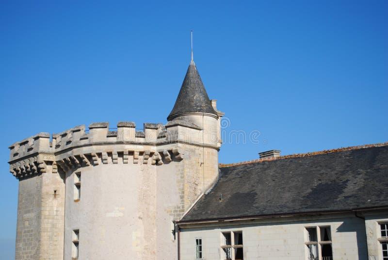 Het dak en de voorgevel van het kasteel royalty-vrije stock foto