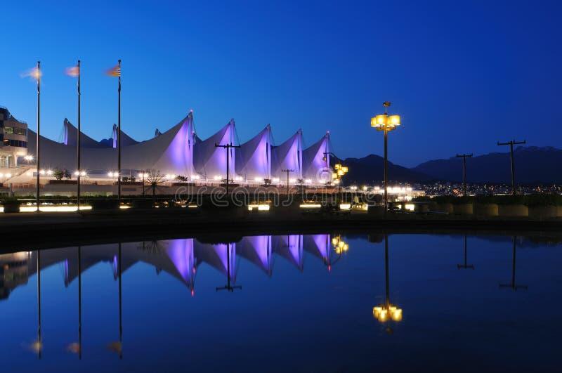Het dak van de plaats van Canada bij nacht, Vancouver royalty-vrije stock foto's
