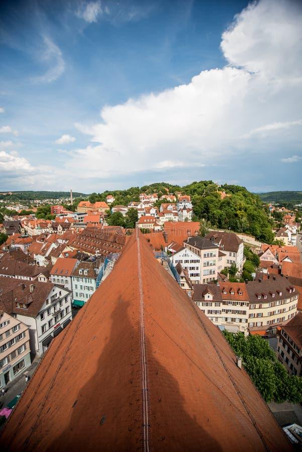 Het dak van Tübingen, Duitsland stock foto's