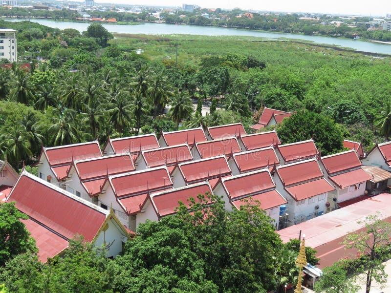 Het dak van Wat Nongwang Khon Kaen, Thailand stock afbeeldingen