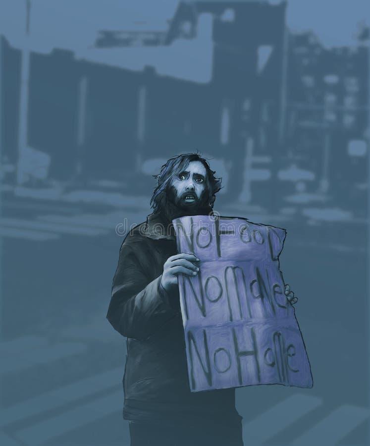 Het dakloze Schilderen royalty-vrije illustratie
