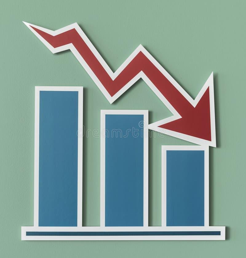 Het dalen bedrijfsdierapportgrafiek op bleek wordt geïsoleerd - groene achtergrond stock illustratie