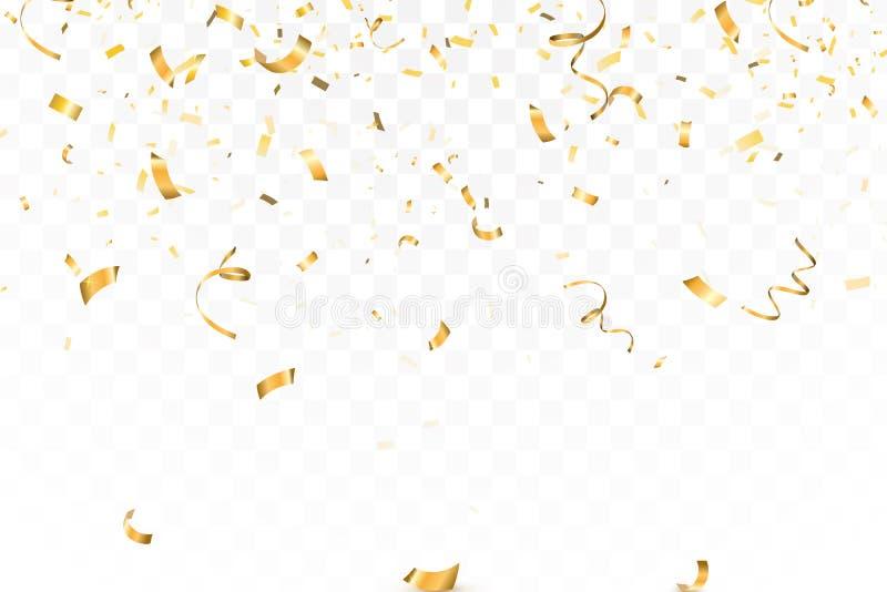 Het dalende heldere Goud schittert confettienviering, kronkelig geïsoleerd op transparante achtergrond Nieuw jaar, verjaardag stock illustratie
