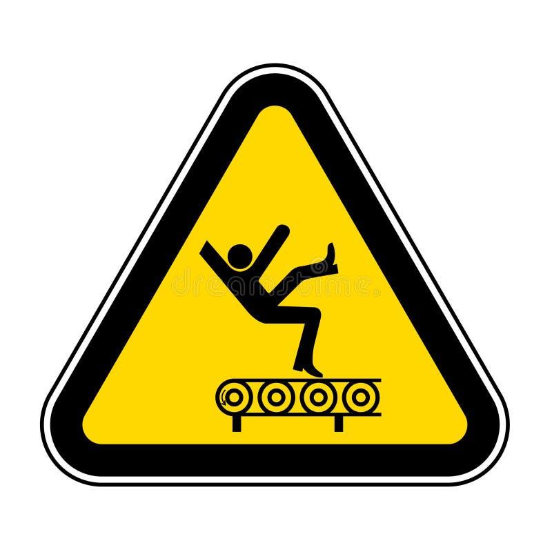 Het dalingsgevaar van het Teken van het Transportbandsymbool, Vectorillustratie, isoleert op Wit Etiket Als achtergrond EPS10 royalty-vrije illustratie
