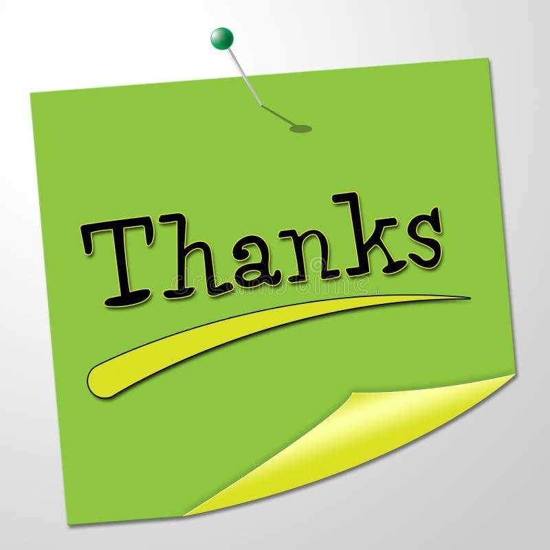 Het dankbericht vertegenwoordigt Dankbaar waardeert en communiceert stock illustratie