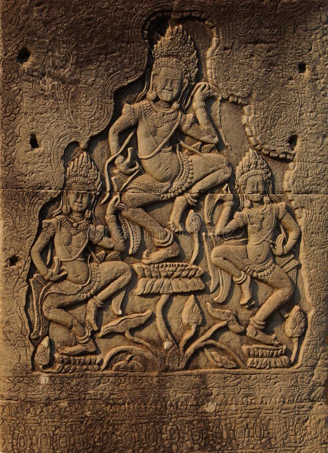 Het dansen apsaradevas royalty-vrije stock fotografie