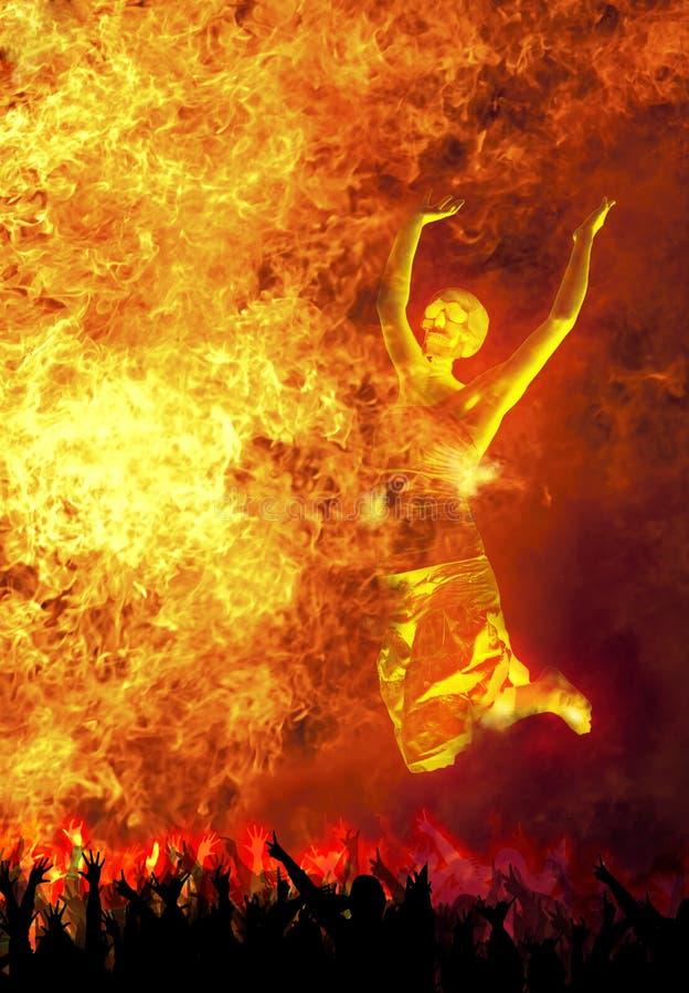 Het dansen in de brand stock afbeeldingen