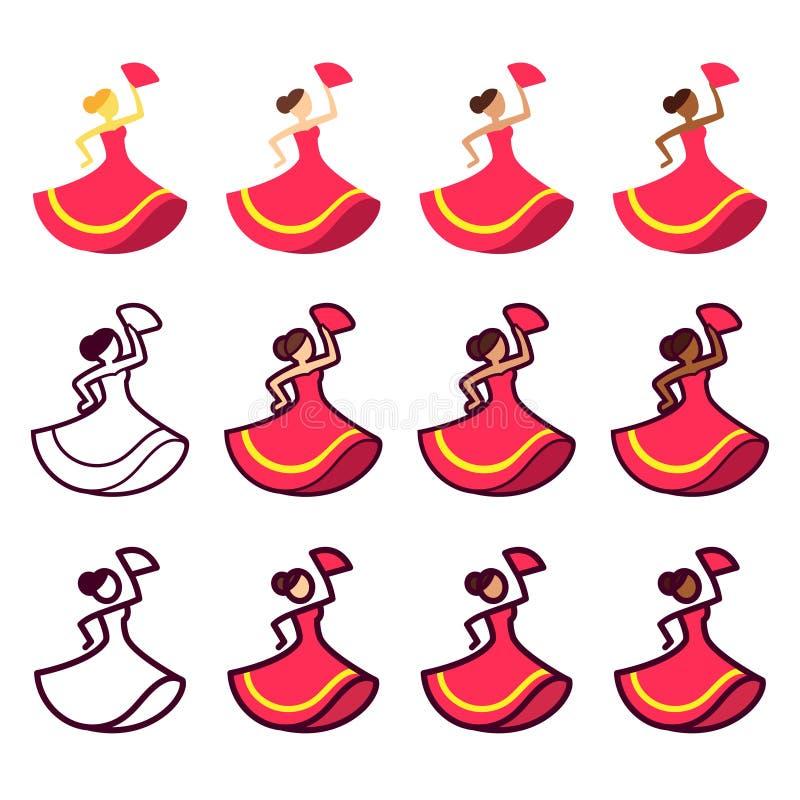 Het dansen de reeks van het vrouwenpictogram stock illustratie