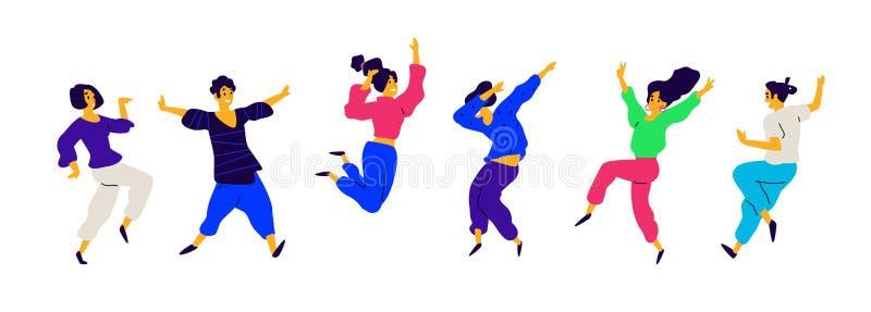 Het dansen en pretmensen, positieve emoties Vector Illustraties van mannetjes en wijfjes Vlakke stijl Een groep gelukkig en blij royalty-vrije illustratie