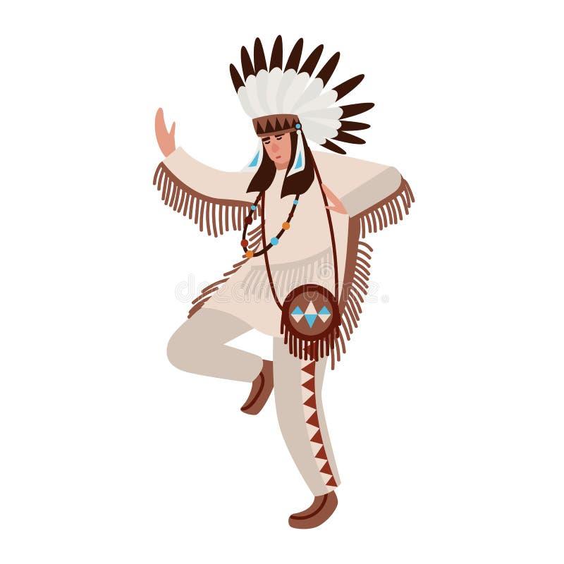 Het dansen Indiaan die etnische kostuum en oorlogsbonnet dragen Mens die stammendans van inheemse volkeren uitvoeren van vector illustratie