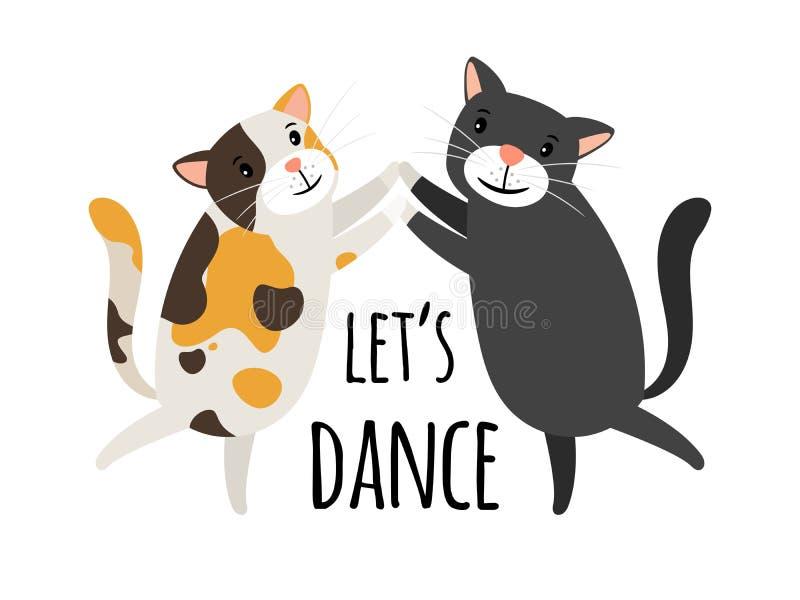 Het dansen katten Foxtrot of tango laat de vectorillustratie van kattendansers, danstekst vector illustratie