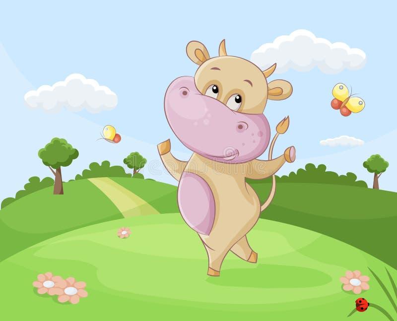Het dansen koe stock illustratie