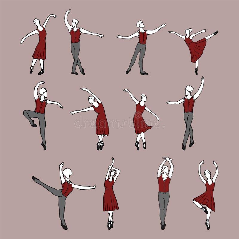 Het dansen paarreeks vector illustratie
