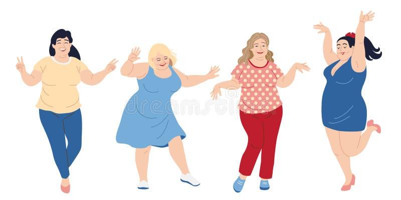 Het dansen plus Grootte Gelukkige Vrouwen royalty-vrije illustratie