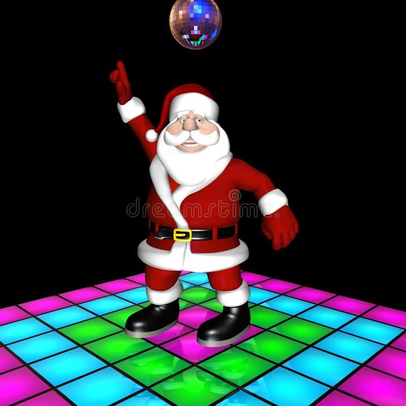 Het Dansen van de Disco van de kerstman stock illustratie