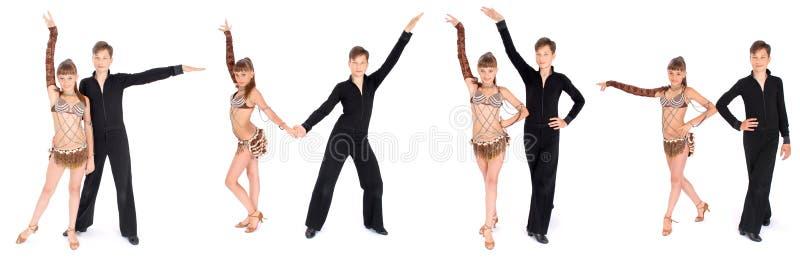 Het dansen van de jongen en van het meisje balzaaldans royalty-vrije stock afbeelding