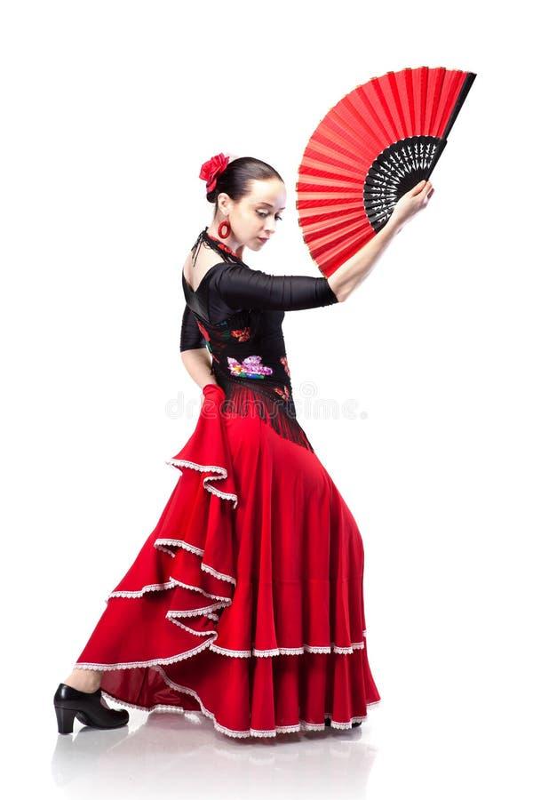Het dansen van de vrouw flamenco dat op wit wordt geïsoleerde royalty-vrije stock fotografie