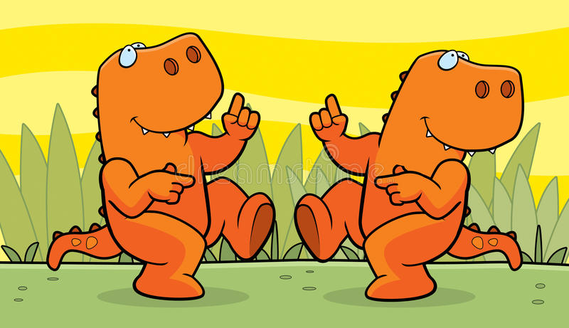 Het Dansen van dinosaurussen vector illustratie