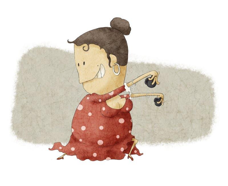 Het dansen van het flamenco royalty-vrije illustratie