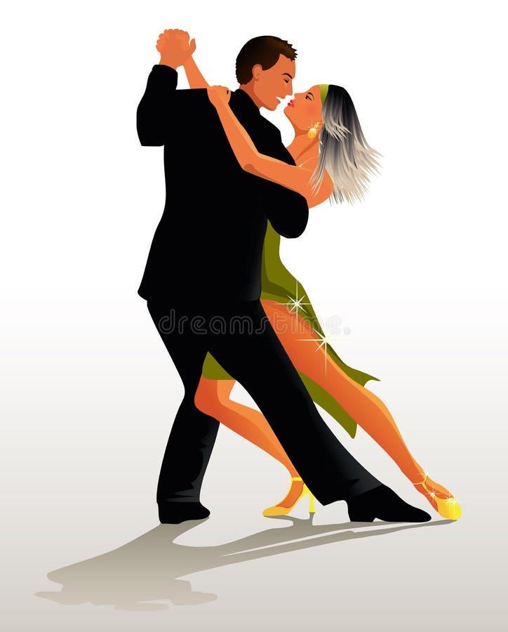 Het dansen van het paar Tango - vectorillustratie vector illustratie