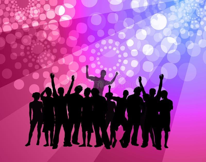 Het dansen van mensen - discoatmosfeer - roze & viooltje vector illustratie