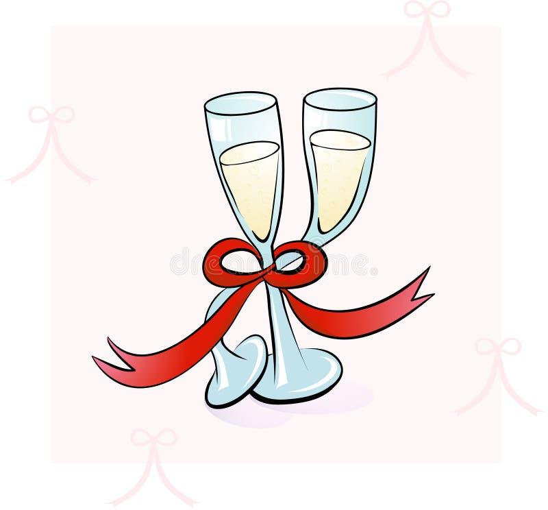 Het Dansen van twee Glazen van Champagne stock afbeeldingen