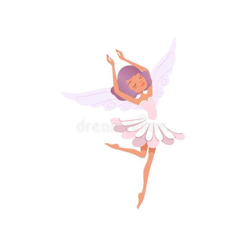 Het dansende feemeisje met purper haar die bloem dragen vormde kleding Mooi fairytaleschepsel Denkbeeldig karakter met vector illustratie