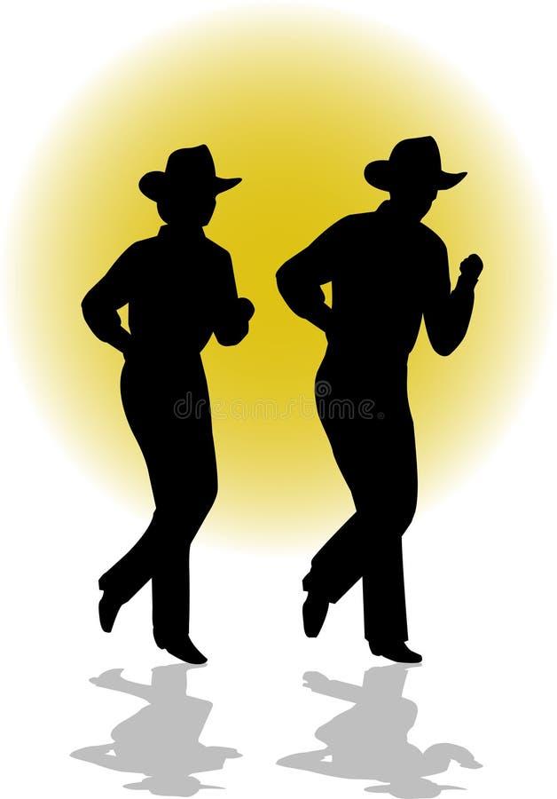 Het Dansende Paar van de Lijn van het land vector illustratie