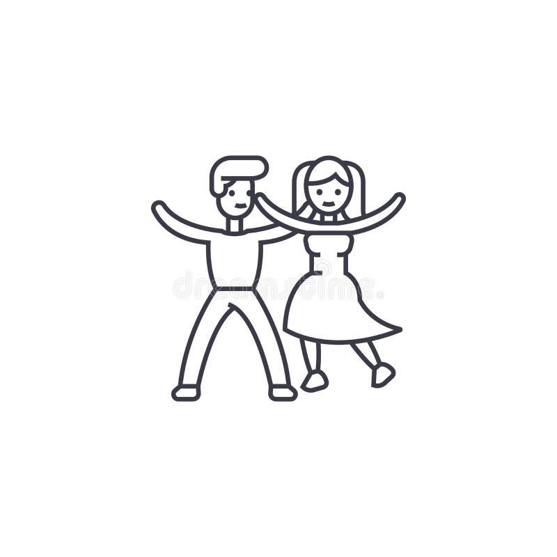Het dansende pictogram van de paar vectorlijn, teken, illustratie op achtergrond, editable slagen vector illustratie