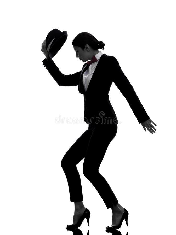 Het dansende silhouet van de modieuze vrouwendanser royalty-vrije stock afbeeldingen