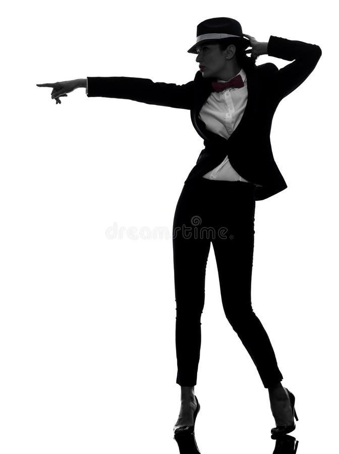 Het dansende silhouet van de modieuze vrouwendanser stock foto