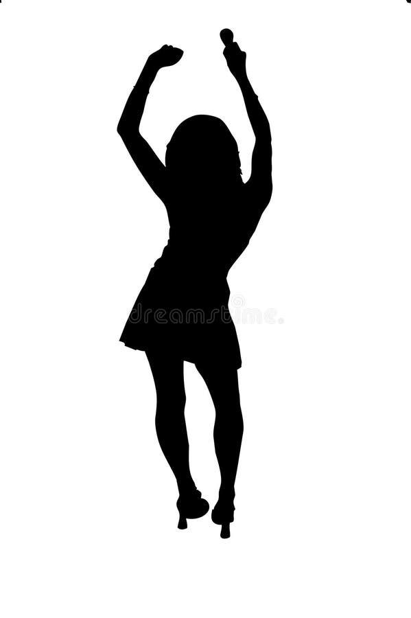 Het dansende Silhouet van het Meisje vector illustratie