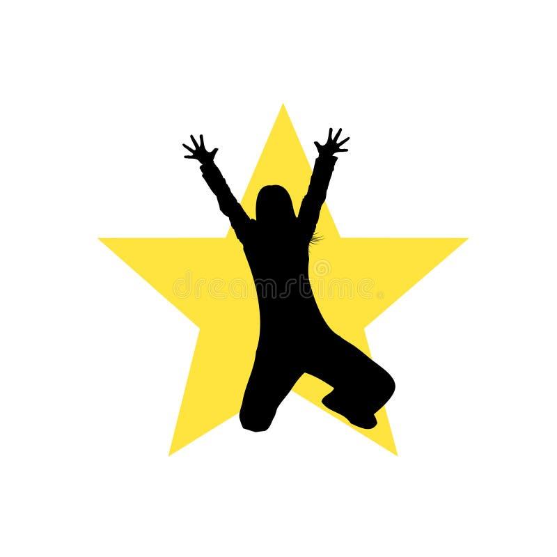 Het dansende silhouet van het stermeisje vector illustratie