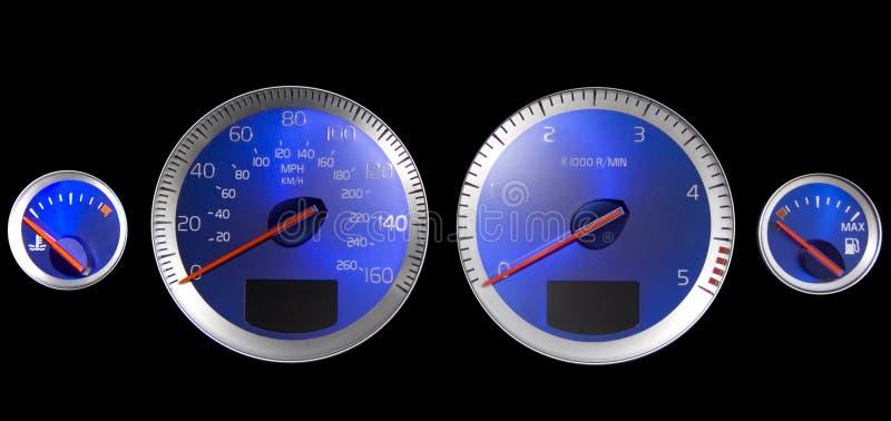 Het dashboard Blauwe wijzerplaten van de auto stock foto