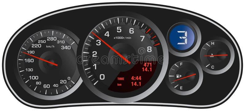 Het dashboard van de vector realistische sportwagen royalty-vrije illustratie