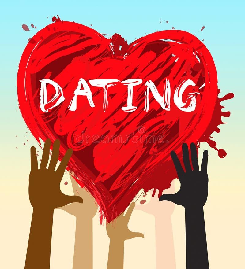 Het dateren van Hart vertegenwoordigt Romantische Liefjes 3d Illustratie royalty-vrije illustratie