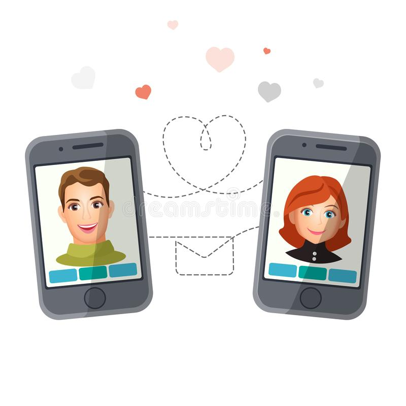 Het dateren van toepassing met mens en vrouw die via smartphones de communiceren royalty-vrije illustratie