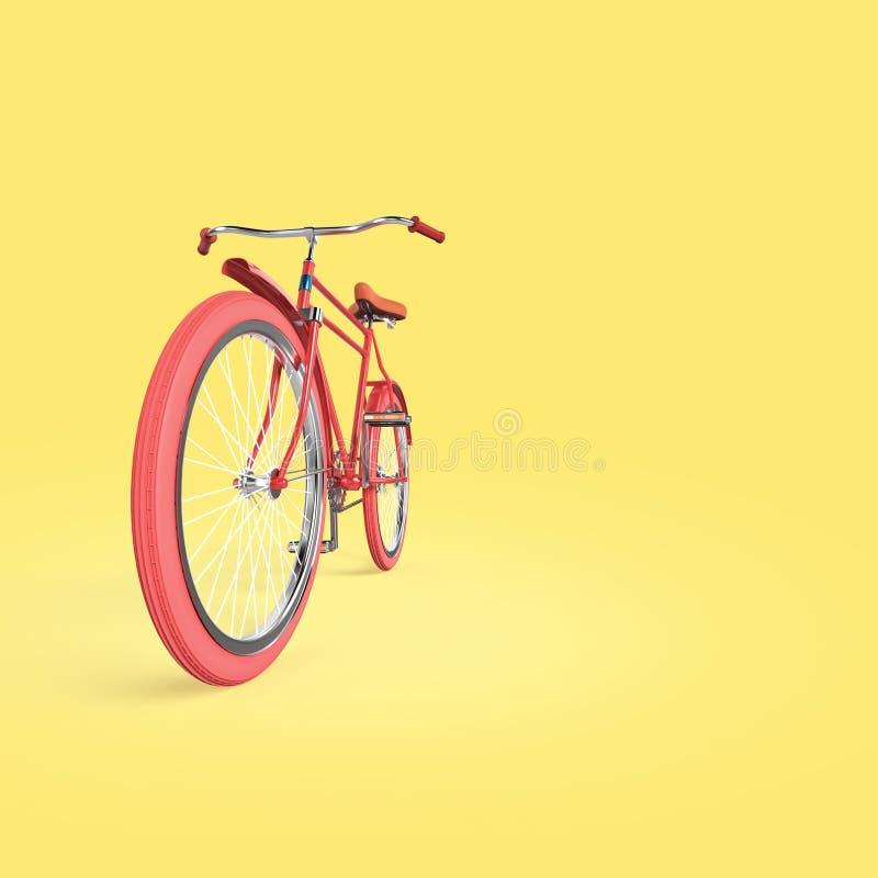 Het de afficheontwerp van het fietsconcept, retro fiets geeft, op kleur backgound met plaats voor tekst terug zelfs de zomer van  royalty-vrije illustratie