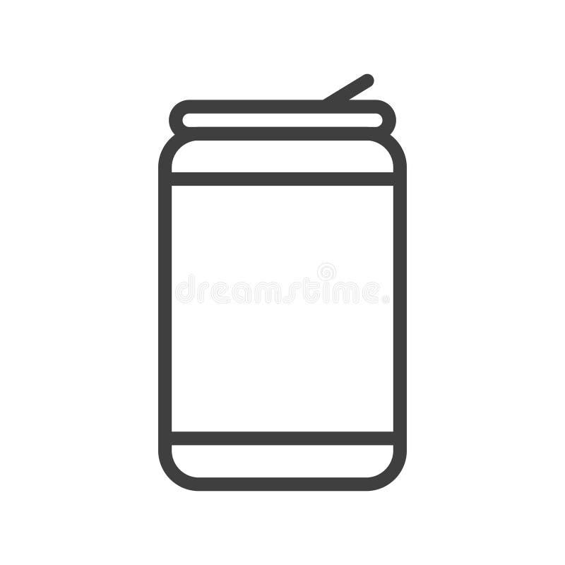 Het de aluminiumsoda of bier kan kunst vectorpictogram voor apps en websites schetsen royalty-vrije illustratie