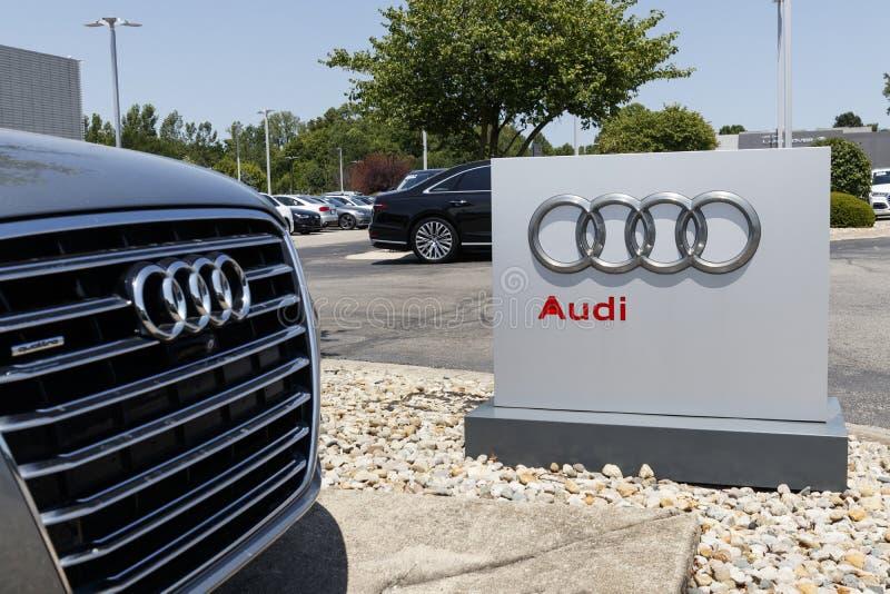Het de autohandel drijven van Audi Automobile en SUV-van de luxe Audi is een lid van Volkswagen-Groep I stock foto