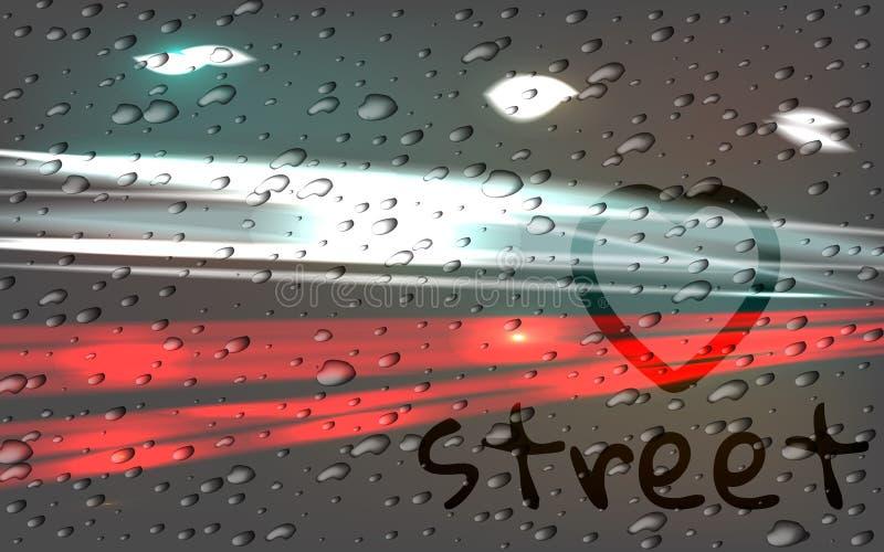 Het de autolicht van de stadsweg sleept motieachtergrond De regen, de inschrijving op misted glas stock illustratie