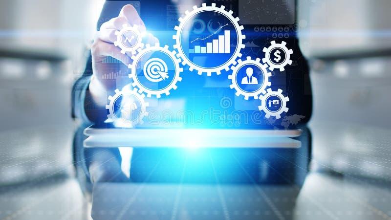 Het de automatiseringswerkschema van het bedrijfsprocesbeheer, documentbevestiging, verbond toestelradertjes aan pictogrammen, te royalty-vrije stock foto's