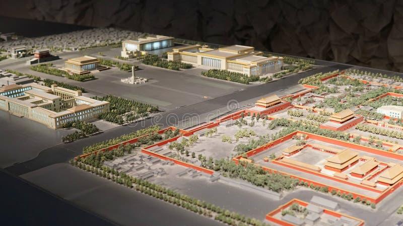 Het de Baaimodel van Peking, in de hal van de Zaal van de het Urbanismetentoonstelling van Peking wordt gefotografeerd, kan de to stock afbeelding
