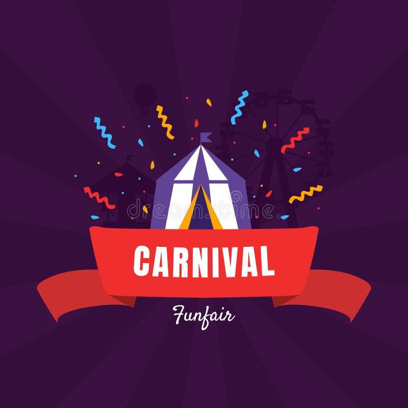 Het de Bannermalplaatje van Carnaval Funfair met Circustent, Pretparkaffiche, Ontwerpelement kan voor Uitnodigingskaart worden ge vector illustratie